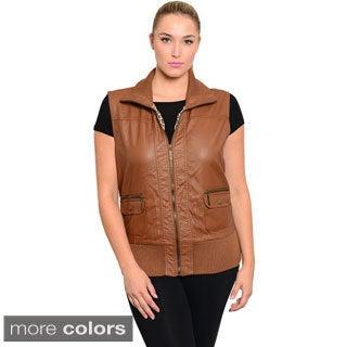 Stanzino Women's Plus Size PU Zip-up Vest