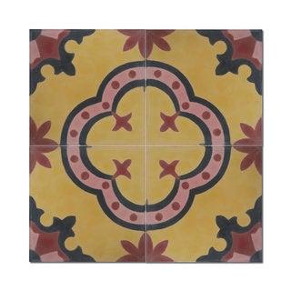Kasba Yellow Handmade 8 x 8-inch Cement/ Granite Moroccan Tile (Morocco) (Pack of 12)