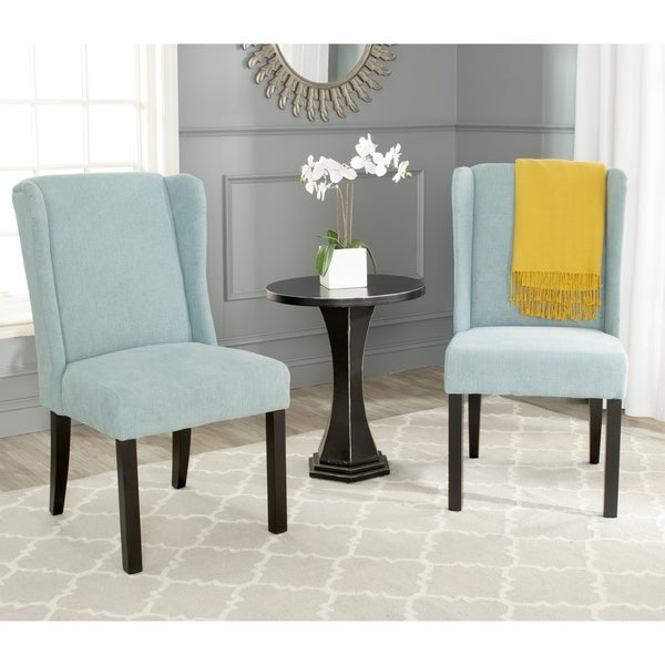 Angelo HOME Bradstreet Modern Damask Turquoise Blue Upholstered Armless Chair