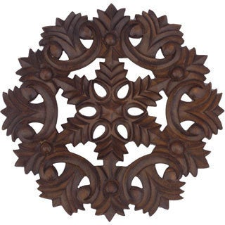Hand-carved Antique Brown Wooden Decorative Wall Panel (India)