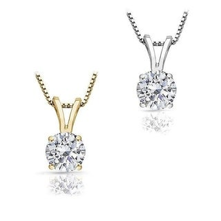 14k Gold 1/2ct TDW Round Diamond Solitaire Necklace (J-K, I1-I2)