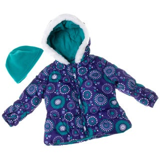 London Fog Toddler Girl's Floral Prunt Puffer with Fur Hood
