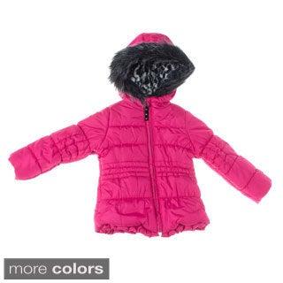 London Fog 4-6X Girl Solid Heavyweight Fur Hooded Jacket