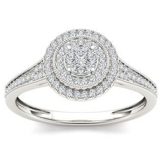 De Couer 10k White Gold 1/3ct TDW Diamond Engagement Ring (H-I, I2)