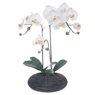White Artificial Silk Phalaenopsis Orchid Centerpiece in Rock Base