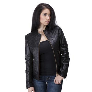 United Face Women's Lambskin Quilted Leather Jacket