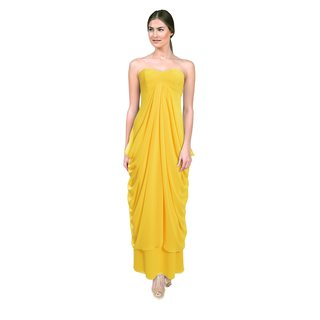 Laundry by Shelli Segal Women's Canary Yellow Strapless Draped Gown (Size 4)