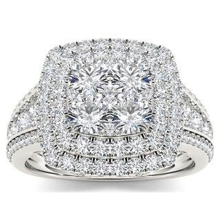 De Couer 10k White Gold 1 1/2ct TDW Diamond Double Halo Ring (H-I, I2)