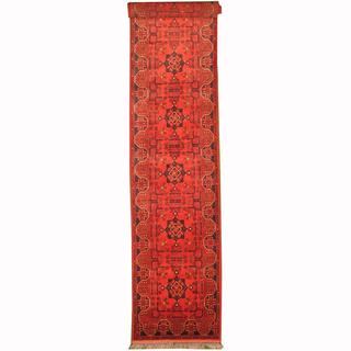 Herat Oriental Afghan Hand-knotted Tribal Khal Mohammadi Red/ Navy Wool Rug (2'6 x 16')