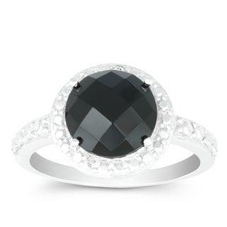 La Preciosa Sterling Silver Faceted Onyx Diamond Accent Circle Ring