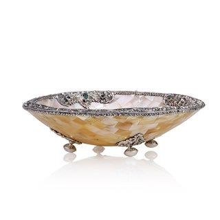 Neda Behnam Home Decor Sterling Silver Mother of Pearl Bowl with Sterling Silver Accents and Quartz Stones