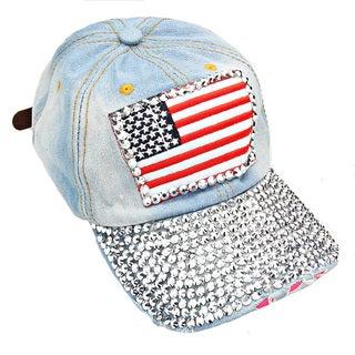 Patriotic USA Flag Distressed Light Denim Rhinestone Baseball Cap