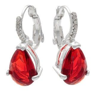 Silvertone Base Metal Red Cubic Zirconia Fashion Earrings