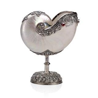 Neda Behnam Home Decor Genuine Nautilus Seashell on Sterling Silver Stand with Quartz Gemstones