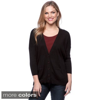 August Silk V Front Button Cardigan with 2 Pockets