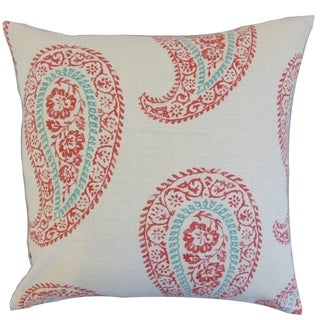 Neith Coral Geometric 18-inch Feather Throw Pillow