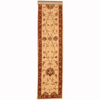 Herat Oriental Indo Hand-tufted Tabriz Ivory/ Rust Rug (2'8 x 13')
