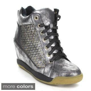Via Pinky 'Paulina-04' Women's Lace-up Rhinestone Ornament Sneaker