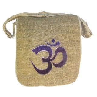 Bohemian Hippie Om Embroidered Hemp Shoulder Bag (Nepal)