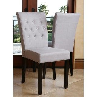 ABBYSON LIVING Chloe Tufted Linen Steel Blue Dining Chair (Set of 2)