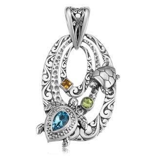 Sterling Silver Multi-stone 'Gracious Turtles' Pendant (Indonesia)