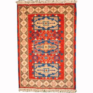 Herat Oriental Indo Hand-knotted Tribal Kazak Red/ Green Wool Rug (2' x 3')