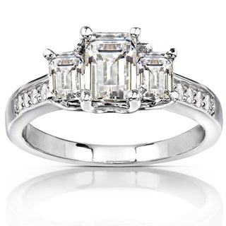 Annello 14k Gold Emerald-cut Moissanite and Diamond Accent Three-Stone Engagement Ring