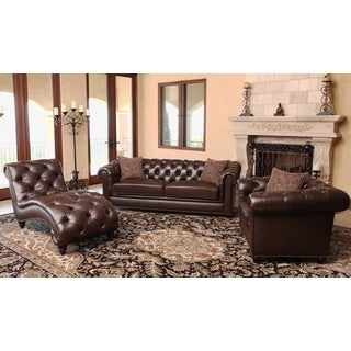 ABBYSON LIVING Carmela Chesterfield Premium Top Grain Leather 3-piece Set