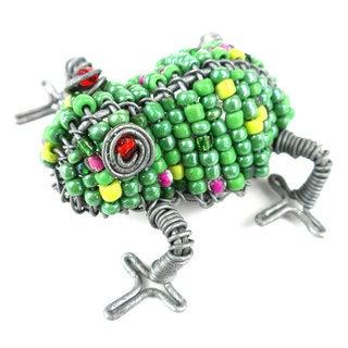 Handmade Beaded Green Frog Fridge Magnet (South Africa)