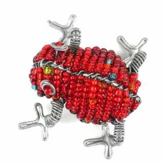 Handmade Beaded Red Frog Fridge Magnet (South Africa)