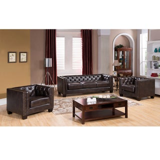 Brixton Tufted Brown Top Grain Leather Sofa and 2 Chairs