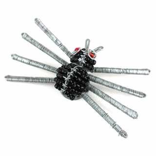 Handmade Beaded Black Spider Fridge Magnet (South Africa)