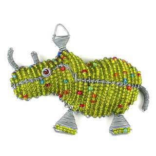 Handmade Beaded Lime Rhinoceros Fridge Magnet (South Africa)
