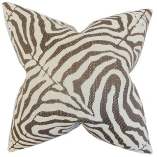 Oluchi Zebra Print 18-inch Feather Filled Cocoa 18-inch Throw Pillow