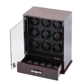Diplomat Ebony Wood Watch Winder and Storage