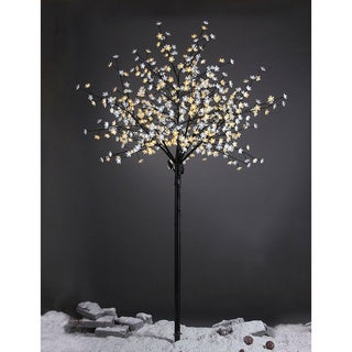 Lightshare 8-foot 600L Warm White LED Pear Blossom Flower Tree with Free Gift: 70L LED Solar Decoration Light