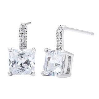 Simon Frank Silvertone Princess-cut Micro-pave Cubic Zirconia Drop Earrings