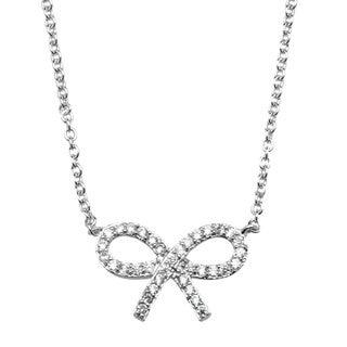 Simon Frank Silvertone Cubic Zirconia Bow Necklace