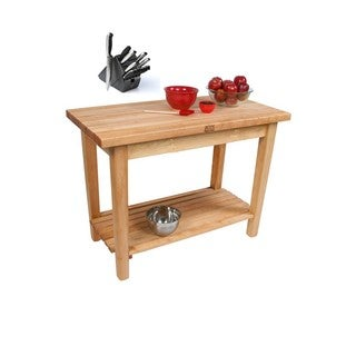 John Boos Country Maple Work Table/ Shelf/ Casters with Henckels 13-piece Knife Block Set