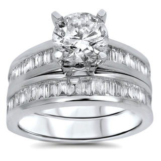 Noori 14k White Gold 2 1/10 Carat Round Baguette Diamond Engagement Bridal Ring Set (G-H, SI1-SI2)