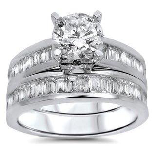 Noori 14k White Gold 1 4/5ct TDW UGL-certified Round Baguette Diamond Engagement Bridal Ring Set (G-H, SI1