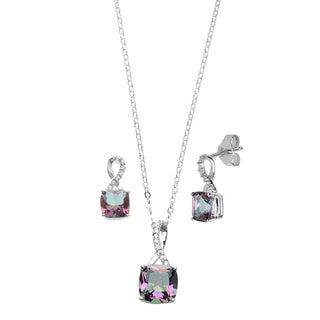 La Preciosa Sterling Silver Mystic Cubic Zirconia Jewelry Set