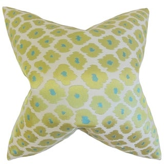 Ajamu Lime Geometric 18-inch Feather Filled Throw Pillow