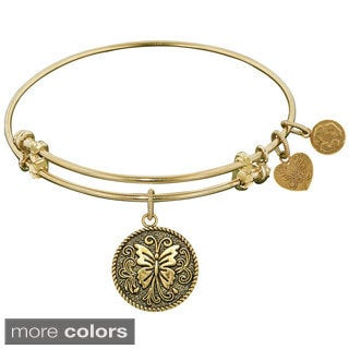 Angelica Butterfly Charm Brass Bangle