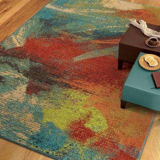 Vibrance Collection Opulent Abstract Multi Olefin Area Rug