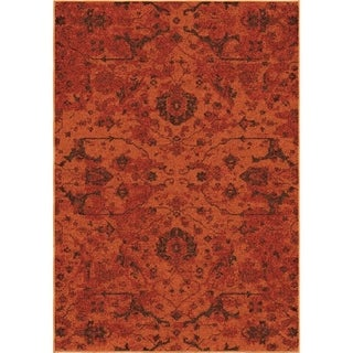 Melodic Collection Spectacular Red Olefin Area Rug