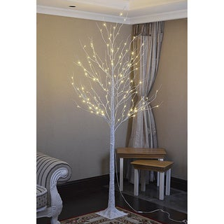 Lightshare 8-foot 132L Warm White LED Birch Tree with Free 10L LED Icicle Twinkling Decoration Light