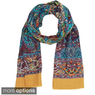 Saachi Women's Wool and Silk Blend Intricate Paisley Scarf (India)