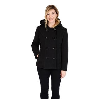 Excelled Women's Faux Wool Hooded Peacoat