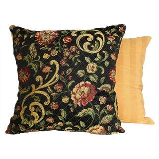 Golden Scrolls Midnight Throw Pillows (Set of 2)